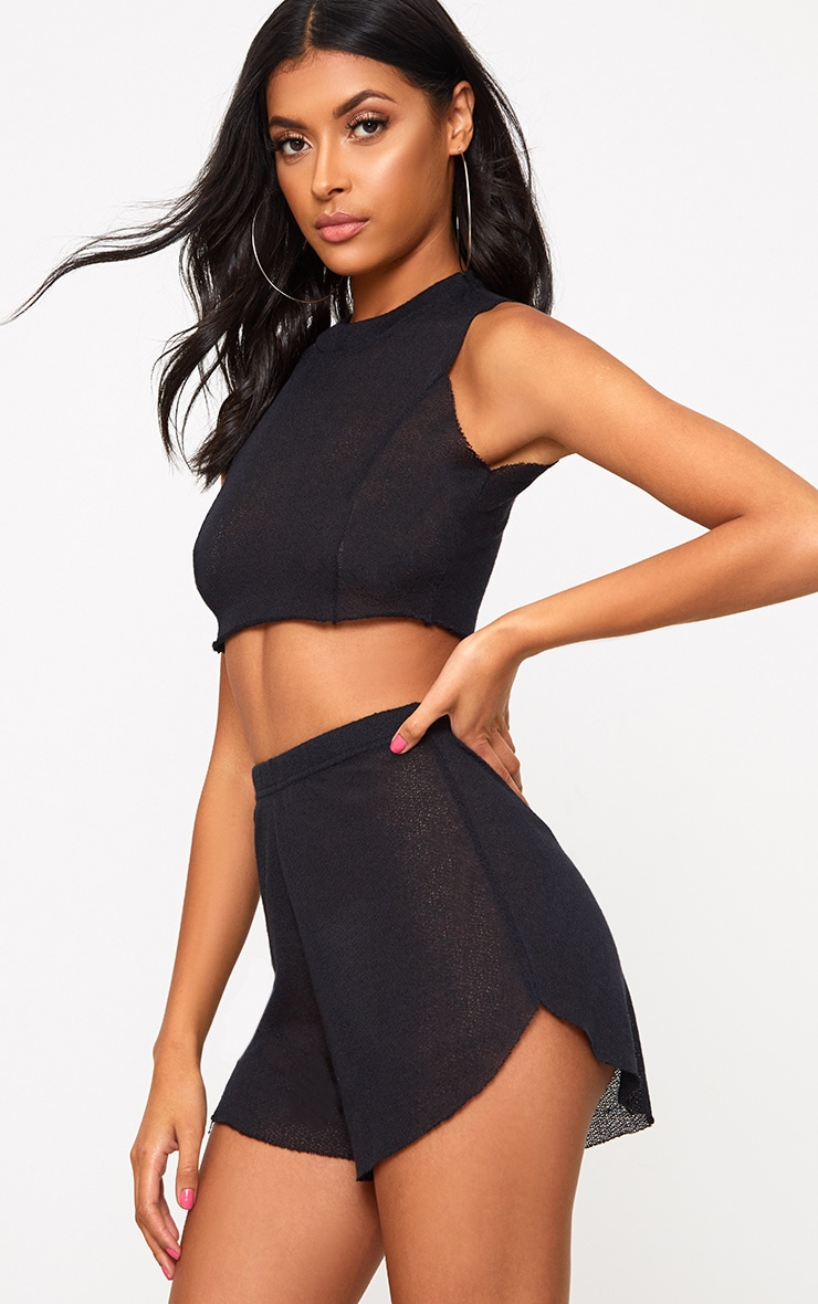 Black Lightweight Knit Shorts 1