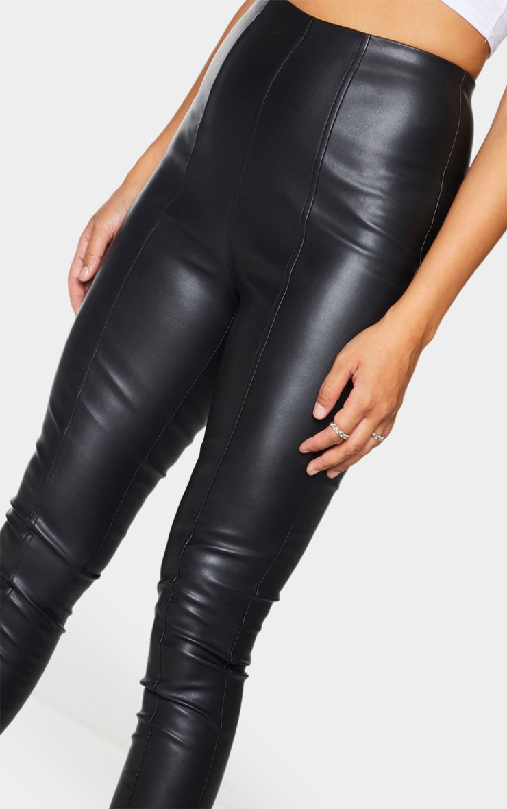 Black Faux Leather Stretch Leggings 4