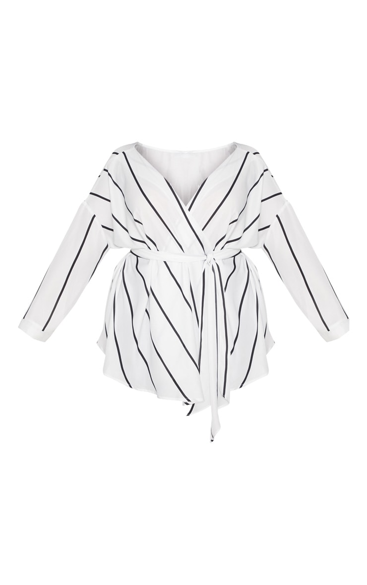 Plus White Striped Woven Tie Waist Blouse 3