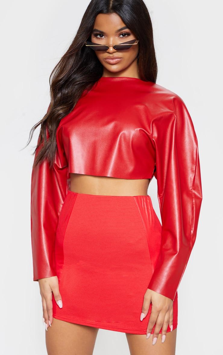 Red Rib Panel Wet Look Mini Skirt 1