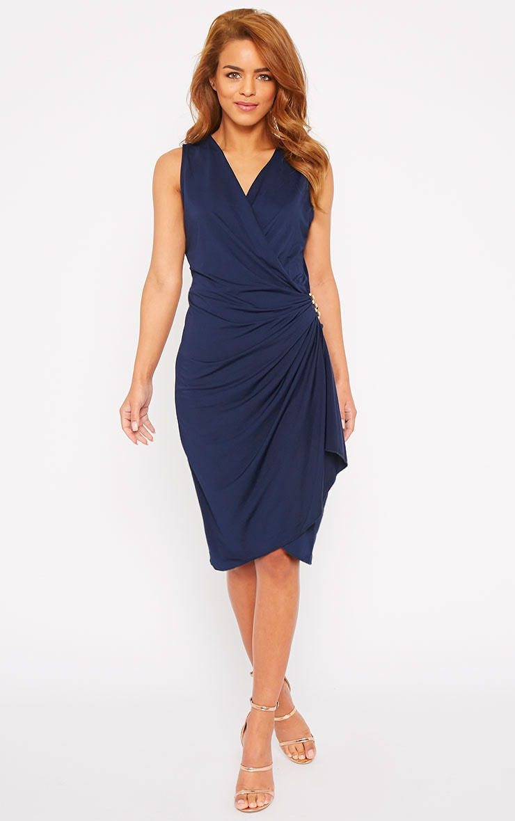 Clarissa Navy Wrap Front Midi Dress 8