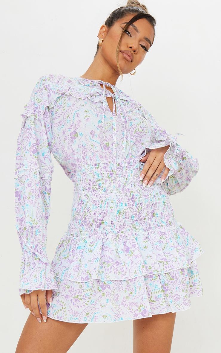 White Floral Print Shirred Waist Frill Detail Shift Dress 3