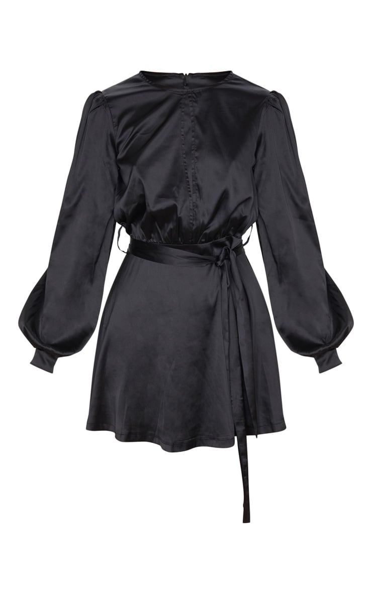 Black Satin Balloon Sleeve Skater Dress 5