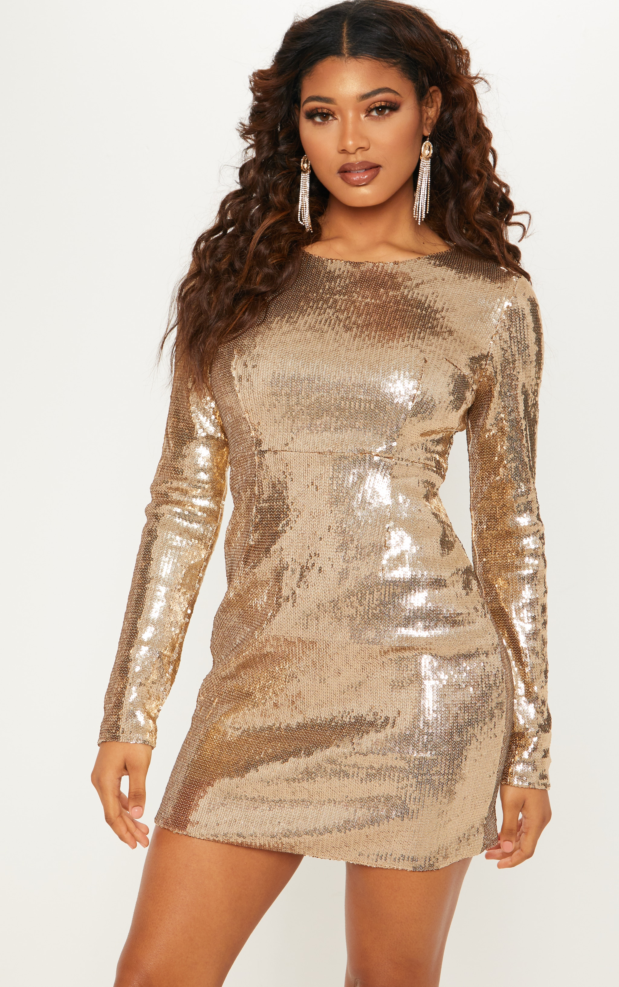 Tall Gold Sequin Long Sleeve Bodycon Dress 1