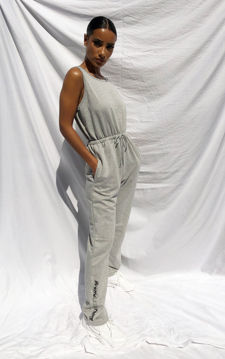 PRETTYLITTLETHING Grey Sleeveless Sweat Jumpsuit 1