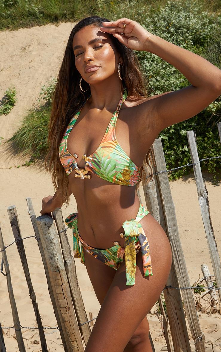 Green Leaf Print Cross Front Hammered Trim Bikini Top 3