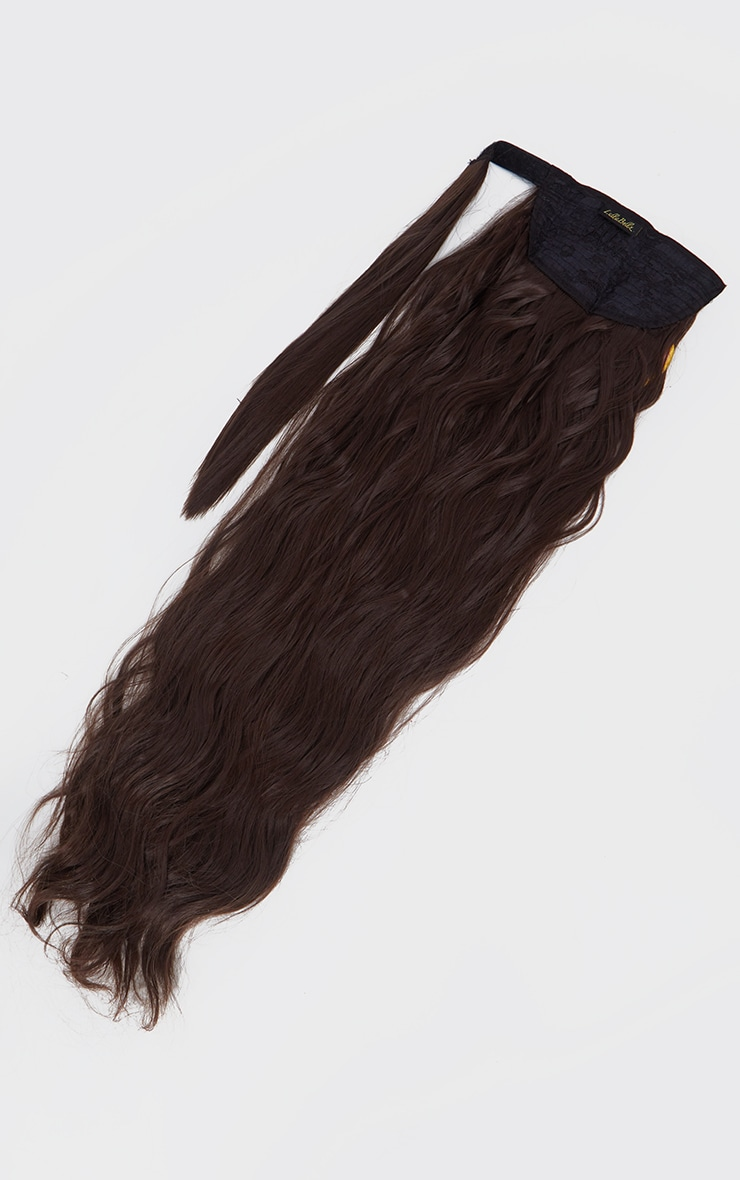 LullaBellz Grande Lengths 26 Textured Wave Wraparound Pony ChocolateBrown 5