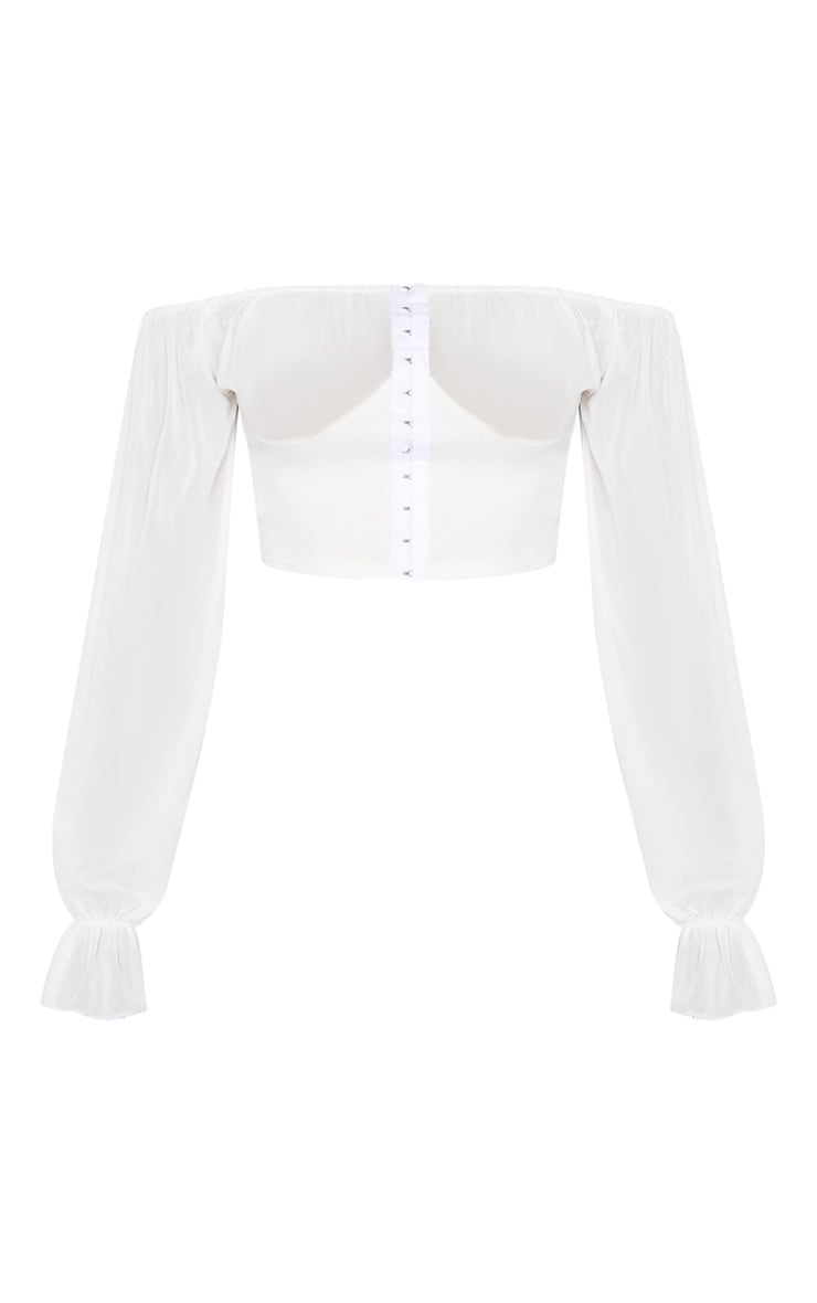 Cream Ruched Cup Hook And Eye Crop Top 3