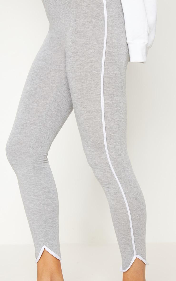 Grey High Waisted Curve Hem Detail Legging 5
