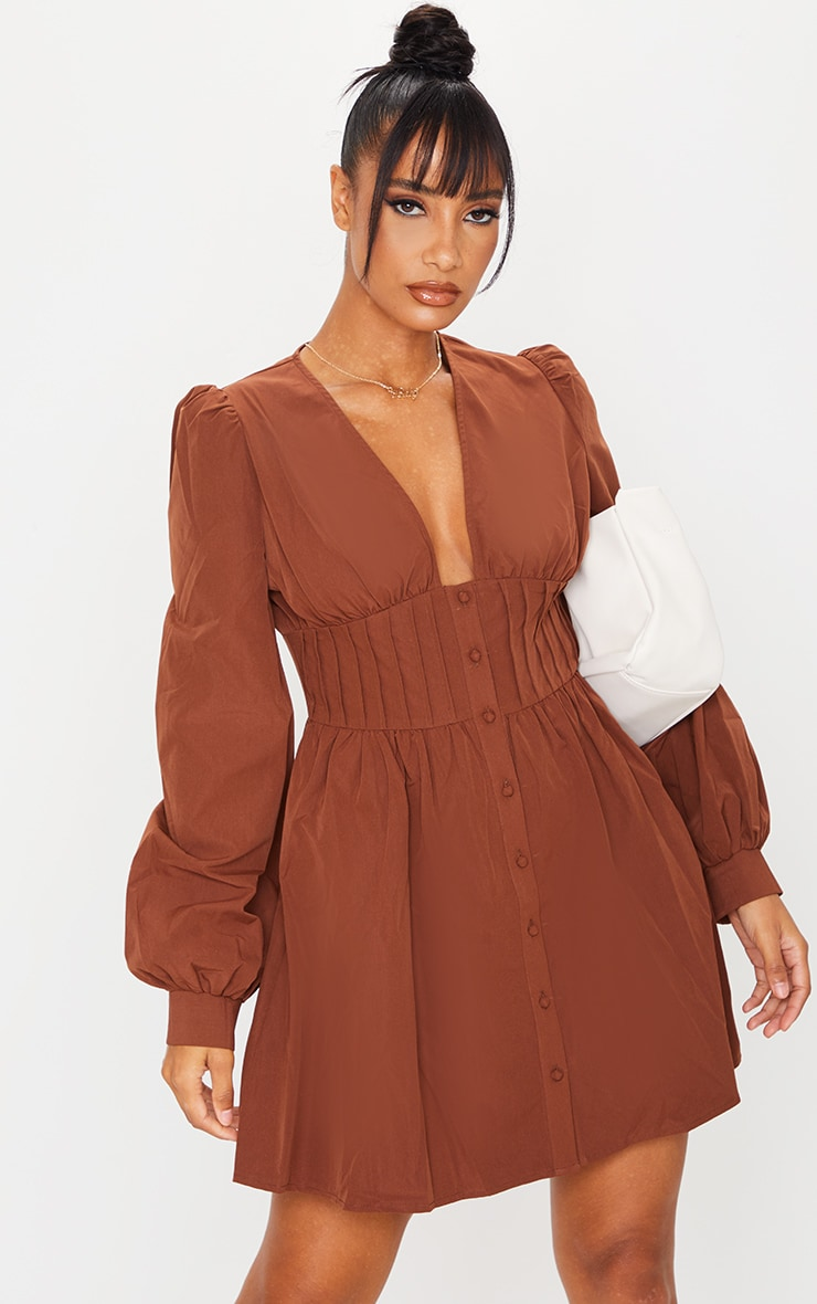 Chocolate Button Front Fitted Puff Sleeve Skater Dress 1