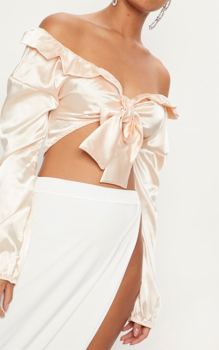 Nude Satin Tie Front Crop Blouse 5