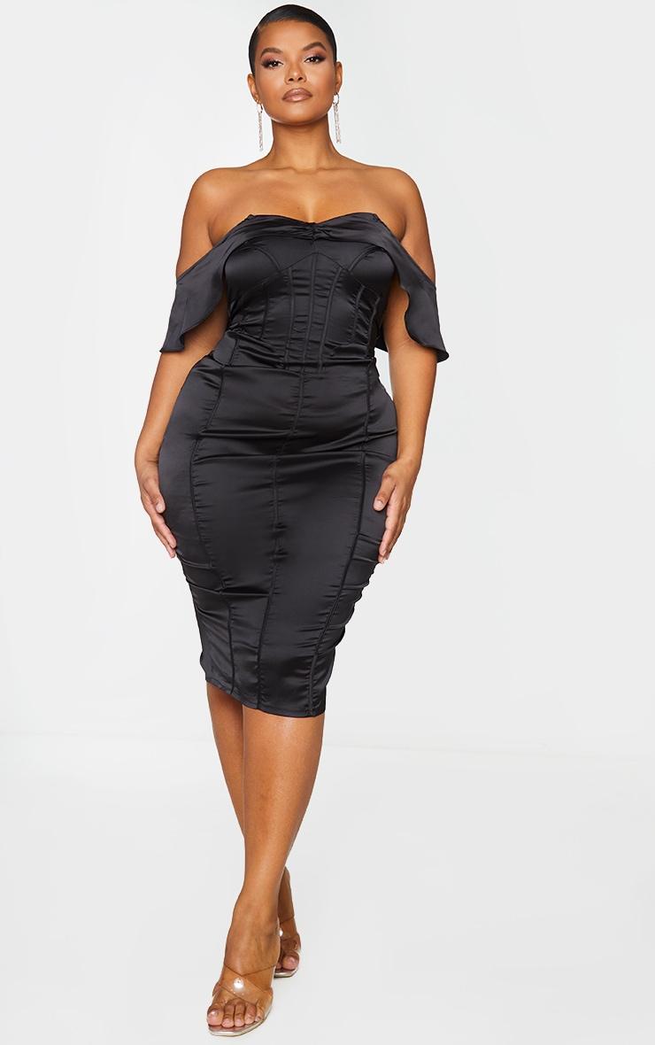 Plus Black Satin Corset Detail Bardot Midi Dress 1