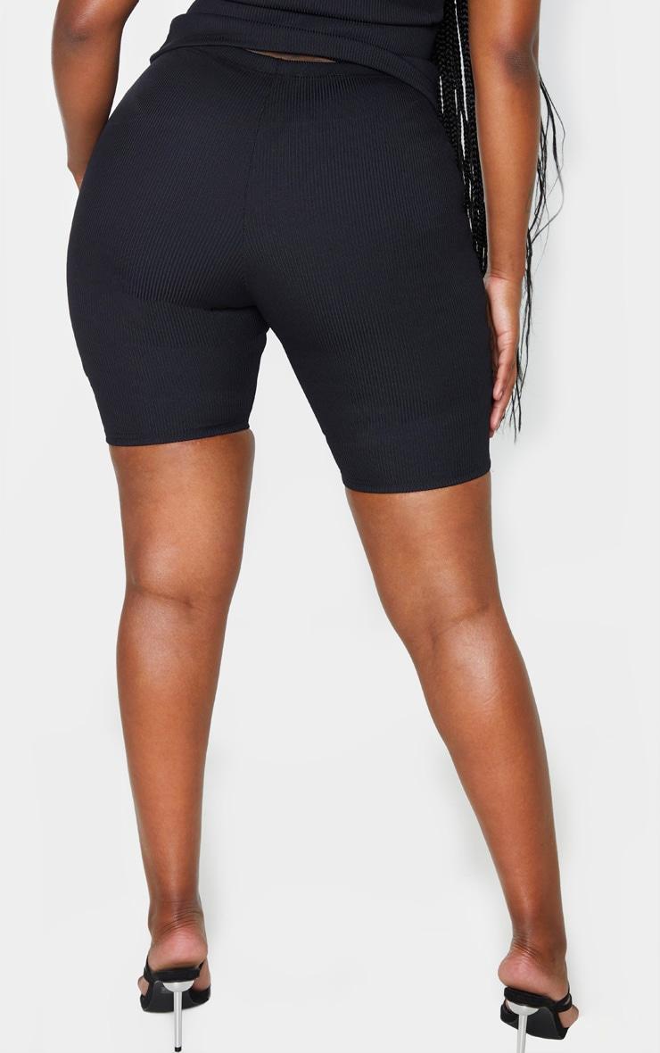 Shape Black Jumbo Rib High Waist Cycling Shorts 4