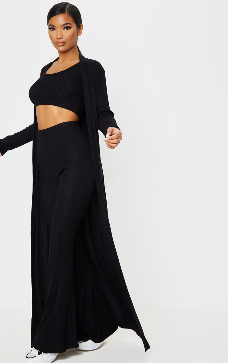 Black Brushed Rib Maxi Cardigan 4