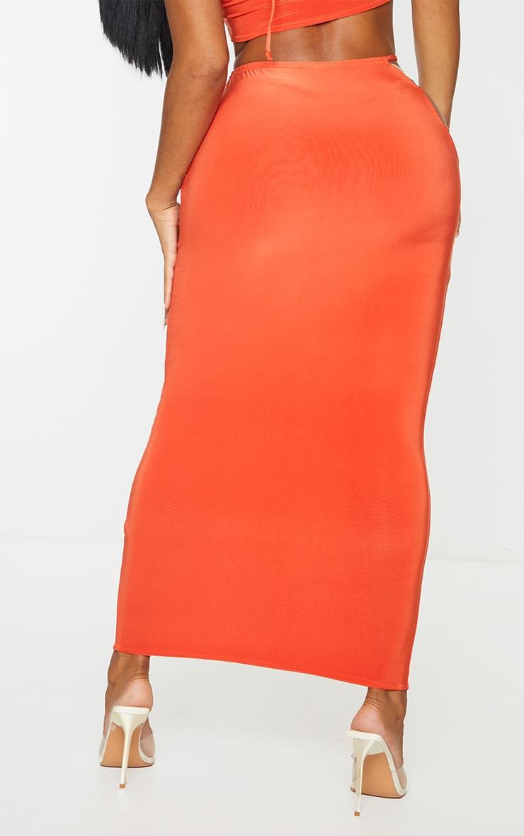 Shape Orange Slinky Cut Out Side Midi Skirt 3