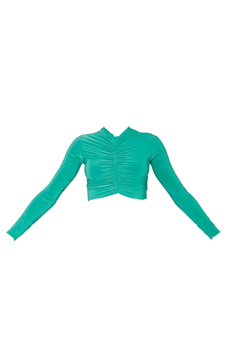 Bright Green Slinky High Neck Ruched Front Dip Hem Crop Long Sleeve Crop Top 5