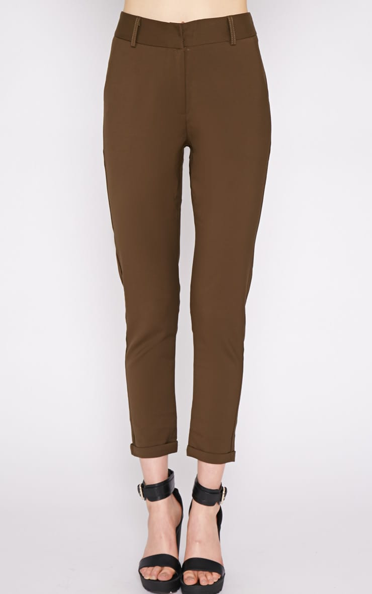 Christen Khaki Cigarette Trouser  5
