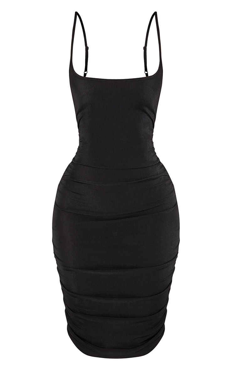 Shape Black Slinky Ribbed Ruched Bodycon Dress 3