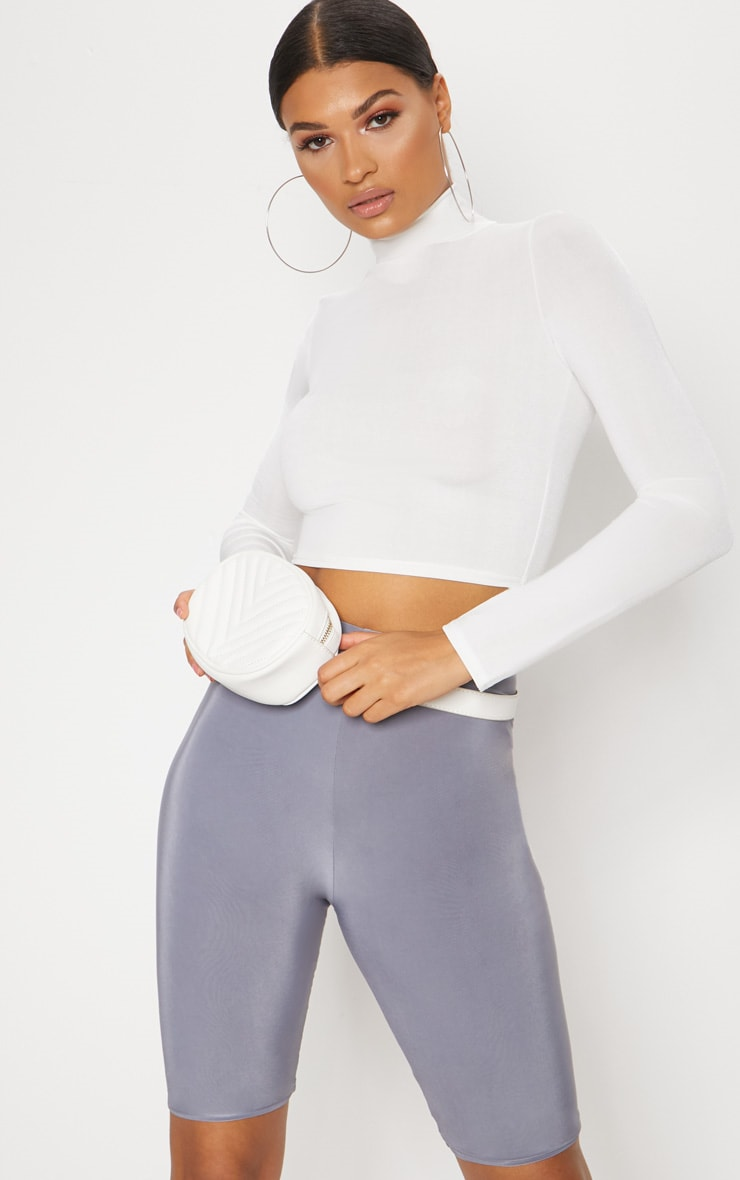 White Slinky High Neck Long Sleeve Crop Top 1