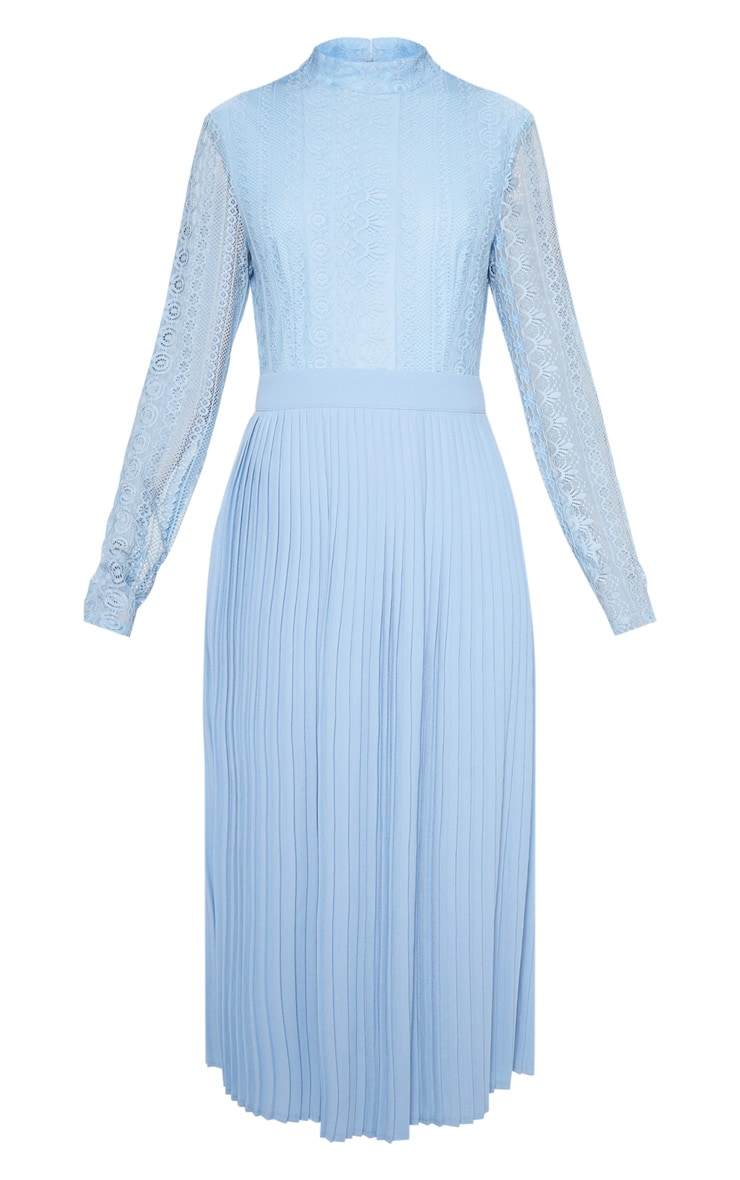Dusty Blue Lace Top Pleated Midi Dress 3