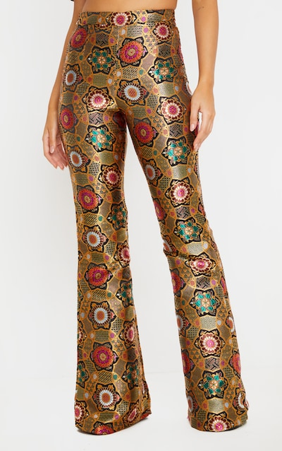 Gold Jacquard High Waisted Flared Trousers