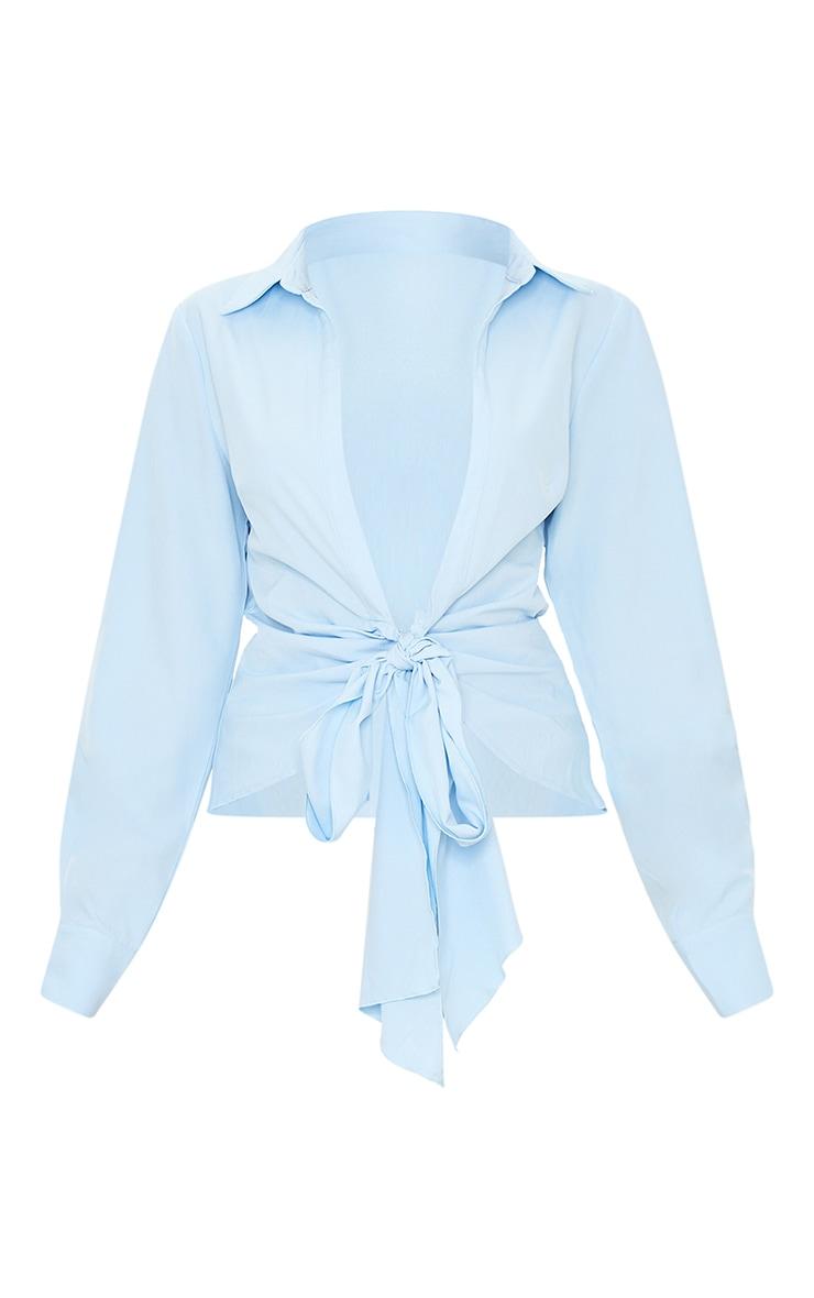 Light Blue Woven Tie Front Shirt 5