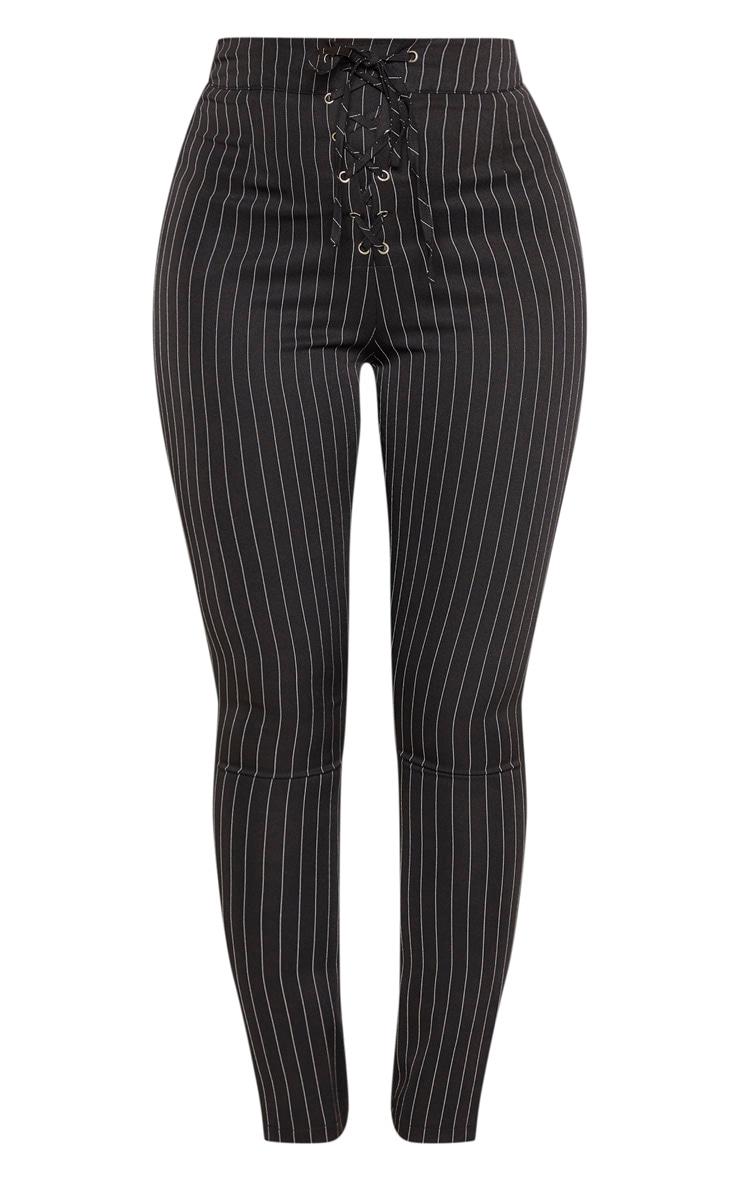 Black Pinstripe High Waisted Lace Up Straight Leg Pants 3