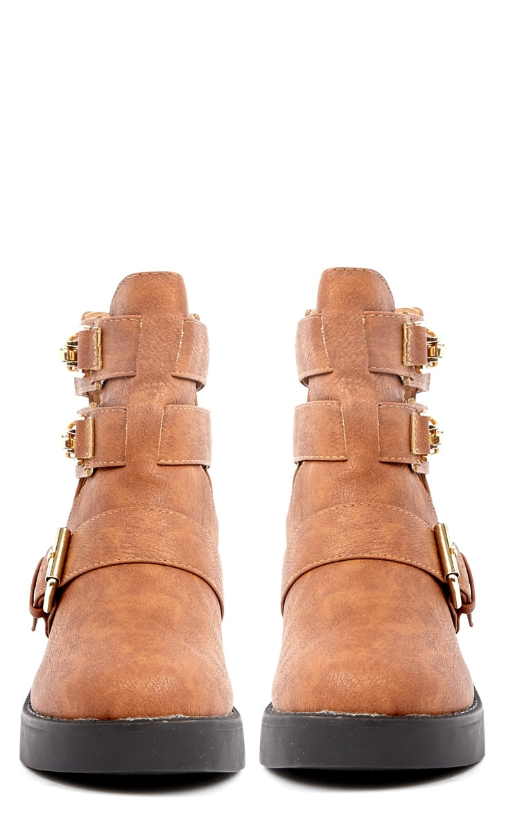 Jasmine Tan Leather Cut Out Chunky Buckle Boots 4