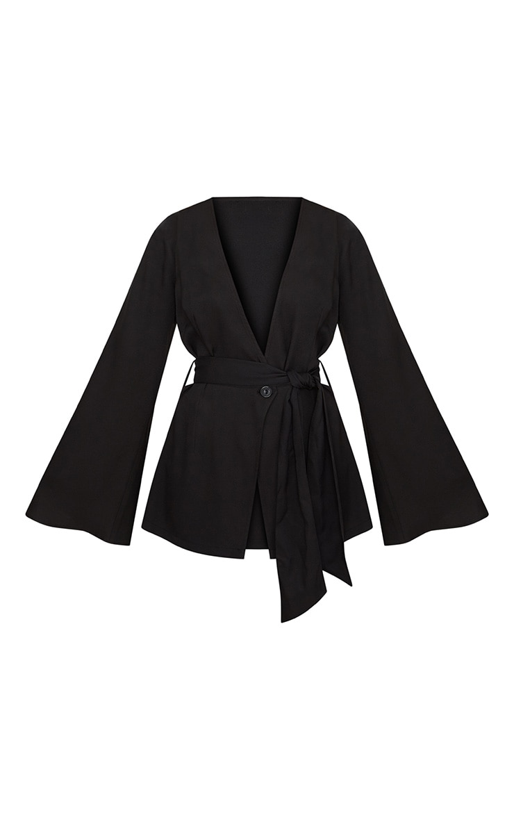 Petite Black Woven Belt Detail Blazer 2