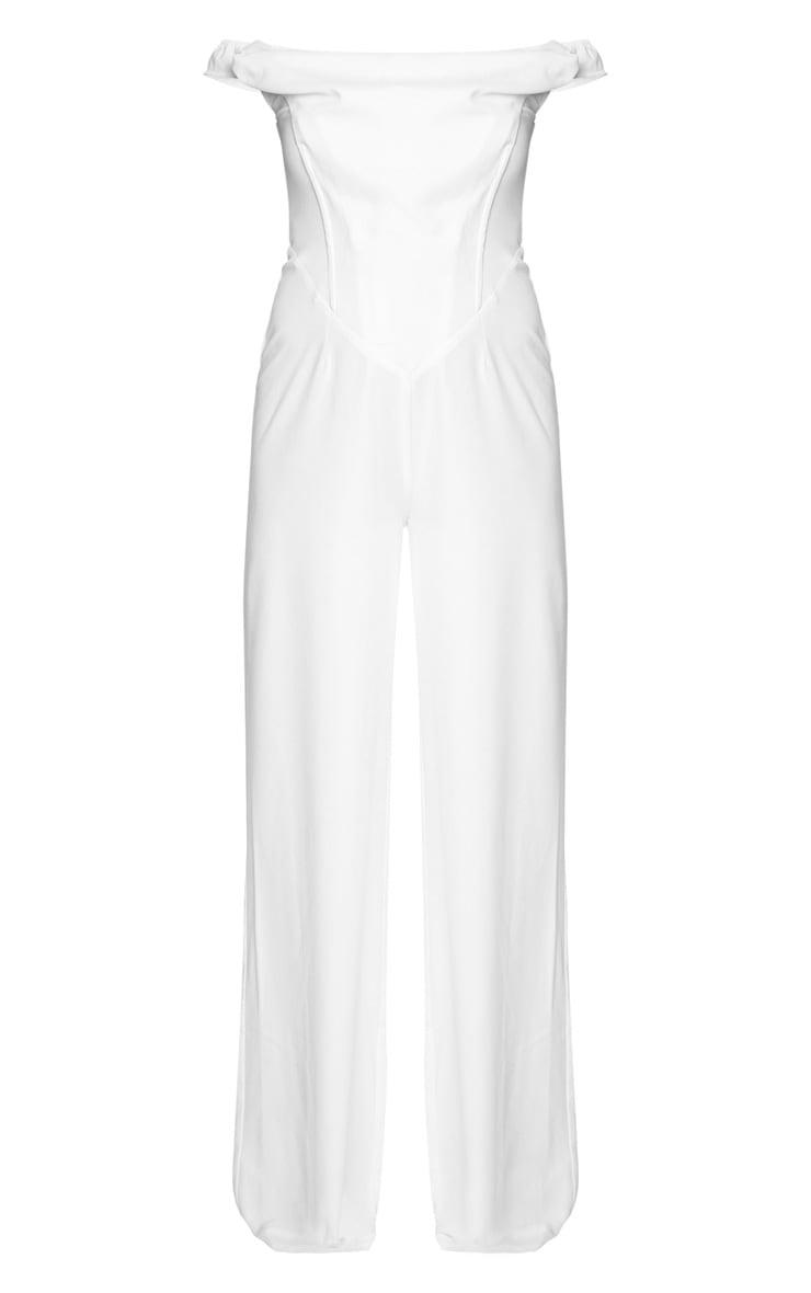 White Corset Bardot Jumpsuit 5