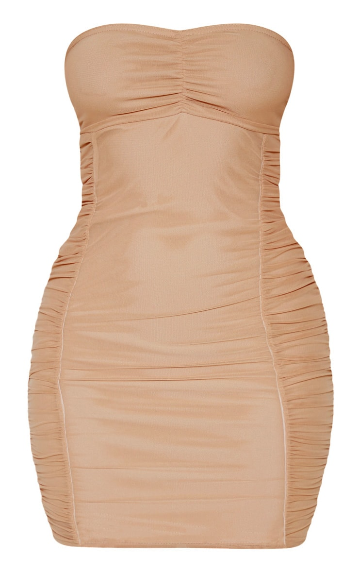 Nude Mesh Bandeau Ruched Detail Bodycon Dress 3