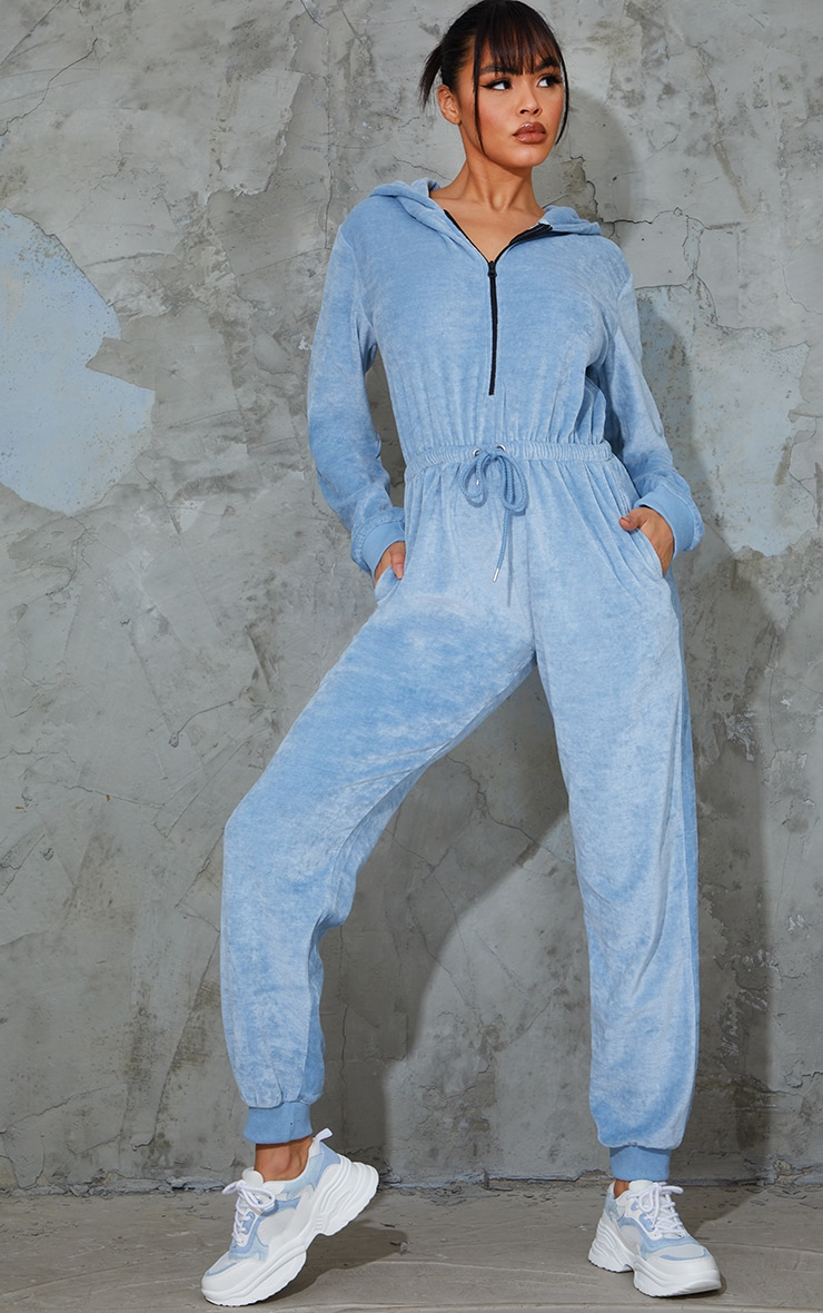 PRETTYLITTLETHING Baby Blue Diamante Velour Jumpsuit 2