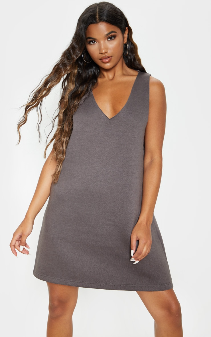 Charcoal Oversized V Neck Sleeveless Sweater Dress 4
