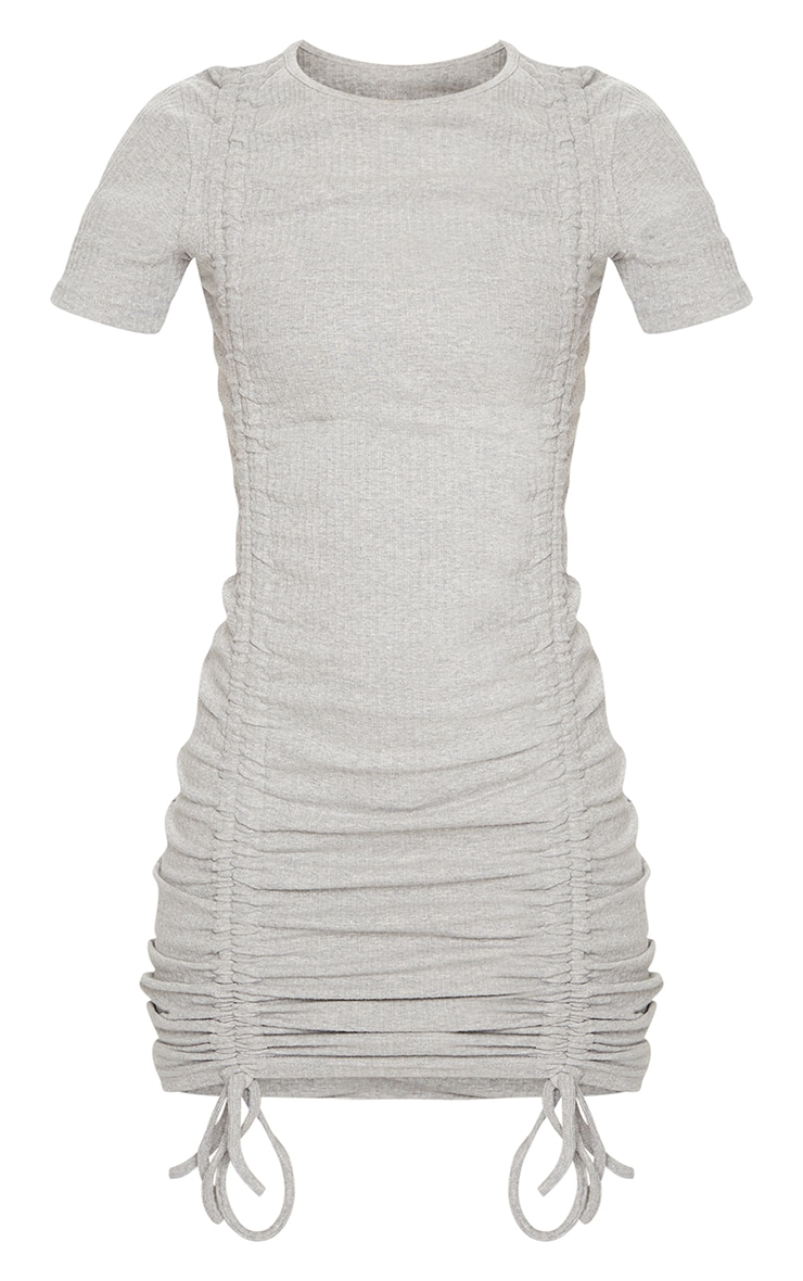 Grey Thick Rib Short Sleeve Ruched Front Bodycon Dress 5