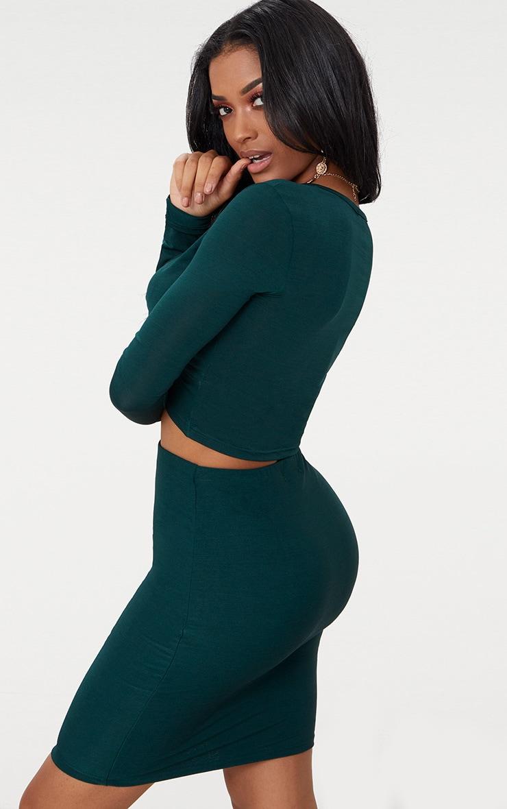 Shape Emerald Green Slinky Twist Front Crop Top 2