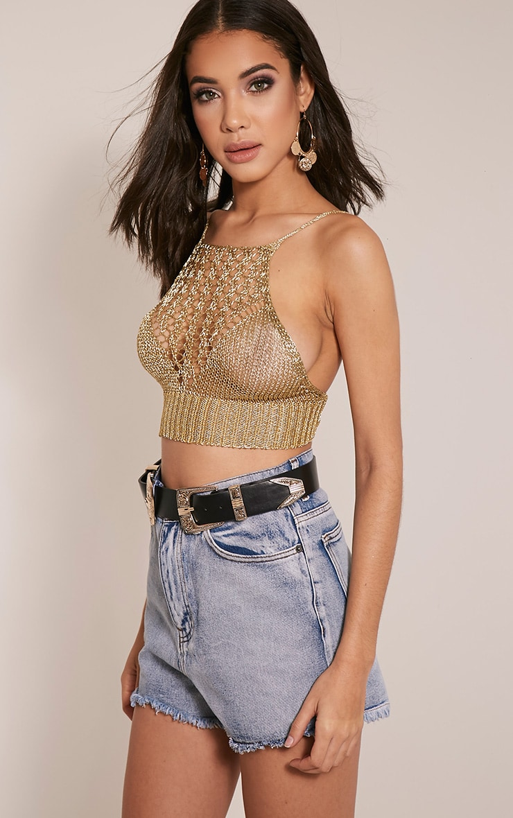 Constance Gold Racer Front Metallic Knitted Crop Top 4