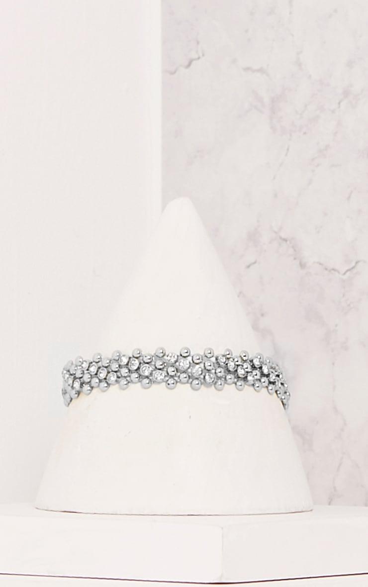 Fern Silver Bead Textured Choker 2