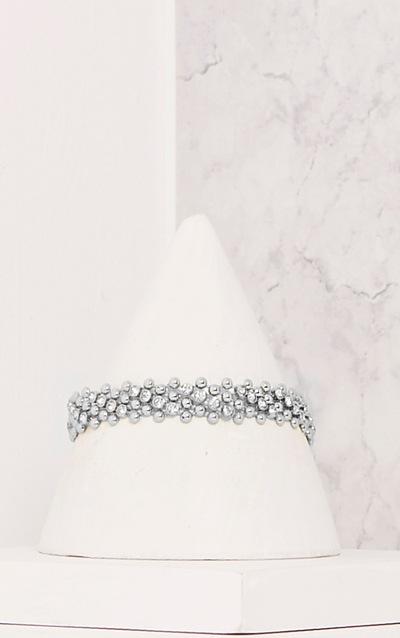 Fern Silver Bead Textured Choker