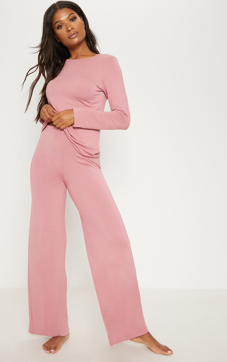 Dusty Pink Mix & Match Pyjama Wide Leg Trousers