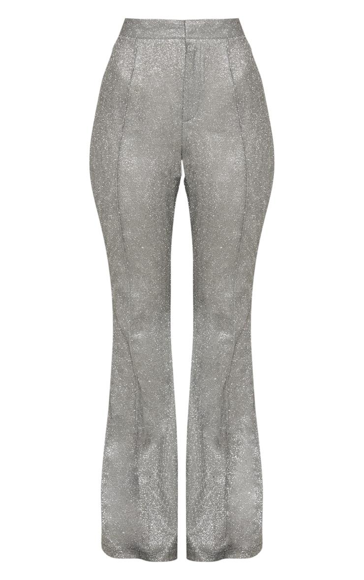 Silver Front Seam Glitter Flared Trouser 3