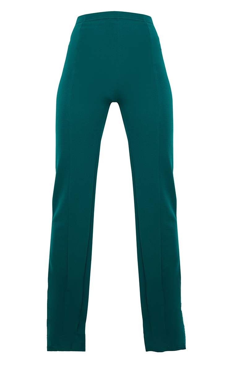 Teal Crepe Seam Front Wide Leg Trousers 5