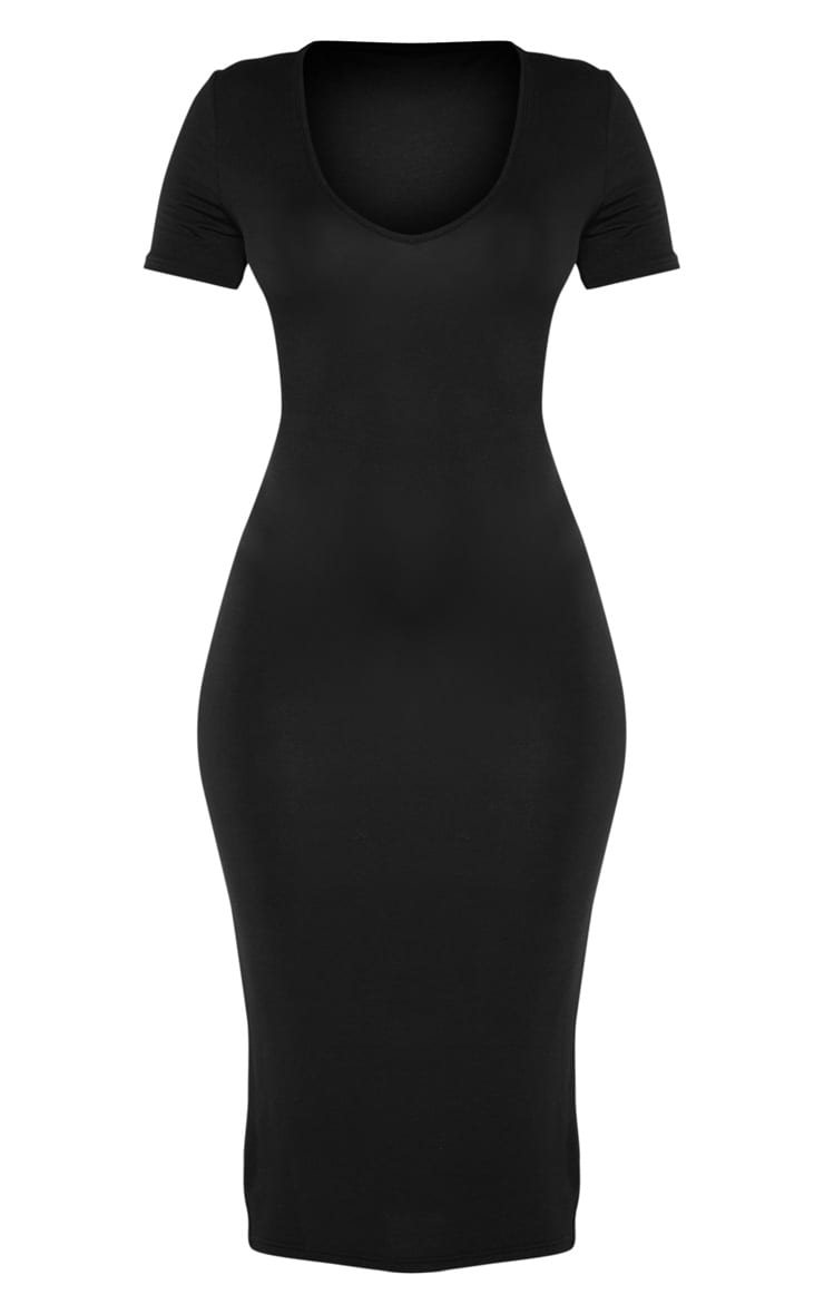 Black V Neck Midi Bodycon Dress 3