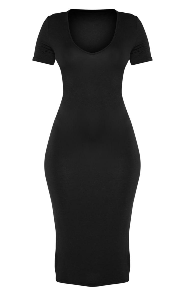 Black V Neck Midi Bodycon Dress 3