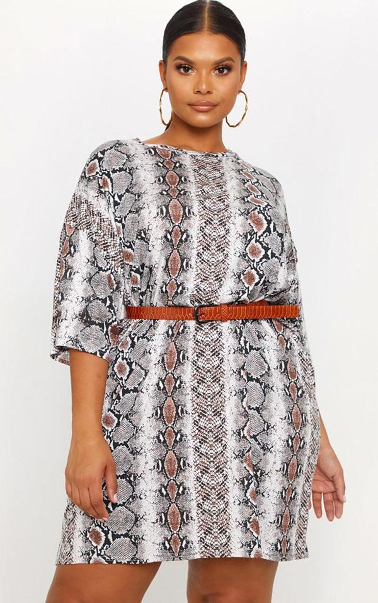 Plus Taupe Snake Print T-Shirt Dress 1