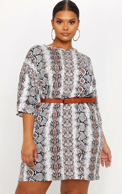 11a128e2a06 Plus Taupe Snake Print T-Shirt Dress PrettyLittleThing Sticker