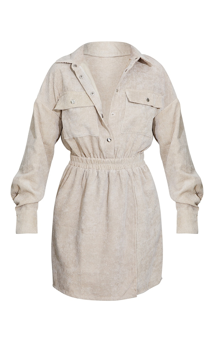 Stone Cord Pocket Popper Detail Shirt Dress 5