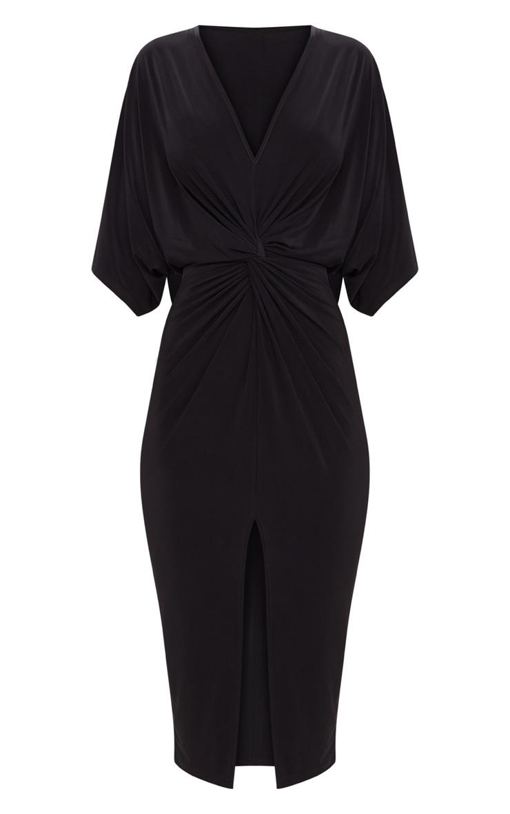 Black Slinky Batwing Twist Detail Midi Dress  3