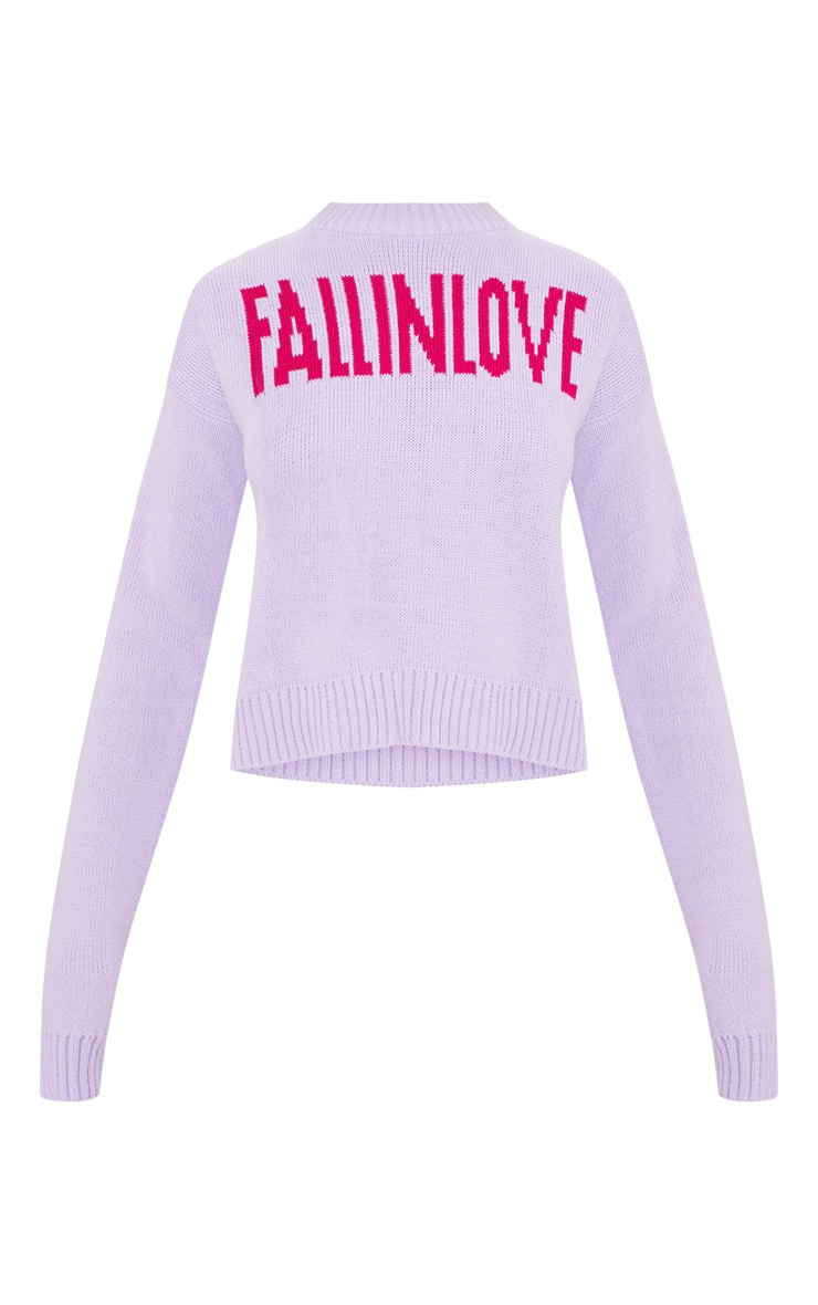Lilac Fall In Love Slogan Knitted Jumper 3