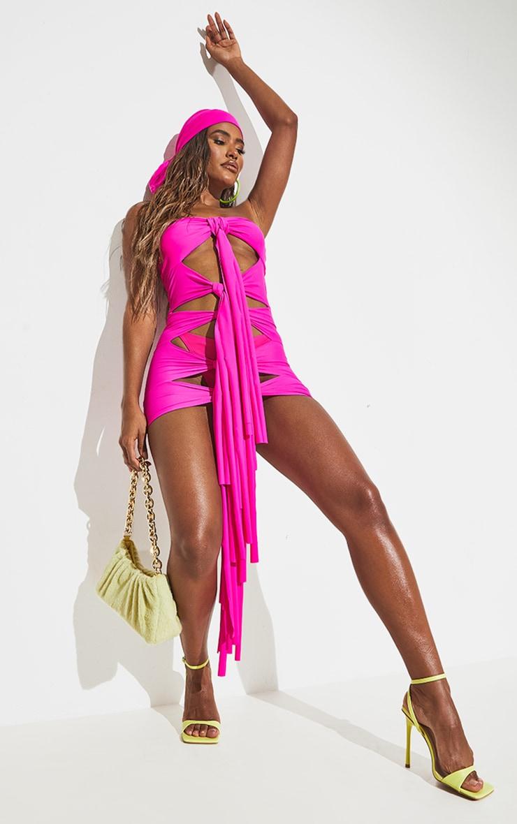 Hot Pink Tassel Tie Front Dress 7