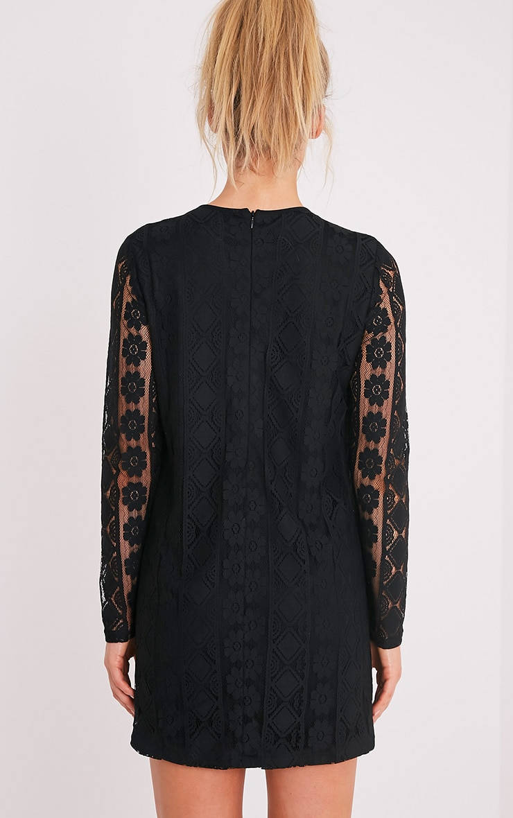 Marney Black Embroidered Detail Lace Shift Dress 2